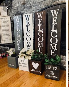Diy Wooden Projects, Wooden Crafts, Wooden Diy, Diy And Crafts, Craft Projects, Backyard Projects, Craft Ideas, Wooden Welcome Signs, Porch Welcome Sign