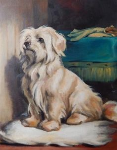 """Daily Paintworks - """"Copy of Waiting for Master, by Earl"""" - Original Fine Art for Sale - © Megan Schembre"""