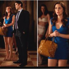 Blair Waldorf Gossip Girl  Hèrve Leger dress Louis Vuitton bag and Sergio Rossi shoes