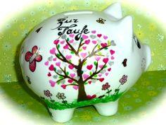 Geldgeschenke - Sparschwein XL  Nr. 122 Taufbaum - ein Designerstück von MM-Bastelparadies bei DaWanda Piggy Bank, Etsy, Desserts, Save My Money, Wrapping Gifts, Crafting, Tailgate Desserts, Deserts, Money Box