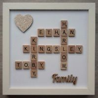 (a) Scrabble Art Picture Frame Personalised Family/Heart - 24 Colours/6 Glitter