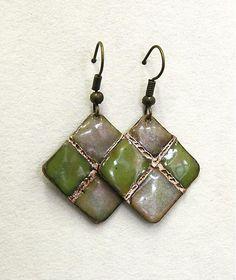 Copper Enamel Earrings van Karasisi op Etsy
