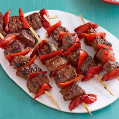 Valentine's Day Dinner! Beef and Red Pepper kabobs