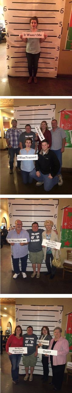 Police Retirement Party Idea - Make a lineup backdrop for guests to take picture. , Police Retirement Party Idea - Make a lineup backdrop for guests to take pictures in front of. Bonus - make fun mugshot signs for guests to hold in the pictures! Geheimagenten Party, Clue Party, Mystery Dinner Party, Mystery Parties, Police Retirement Party, Retirement Parties, Fête D'agent Secret, Spy Birthday Parties, Funny Birthday