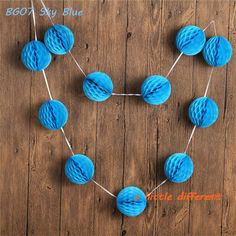 """7FT 11pcs/Set  3"""" Mini Sky Blue Honeycomb Paper Ball Garlands For Wedding Baby Shower Birthday Party Table Backdrop Decoration"""