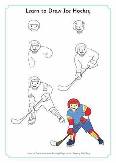 Learn to Draw Ice Hockey Sports Drawings, Art Drawings For Kids, Drawing For Kids, Art For Kids, Art Handouts, Art Lessons Elementary, Drawing Lessons, Winter Olympics, Business For Kids