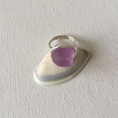 Made a Lavendar sea glass silver wire wrapped ring!