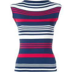 Dolce & Gabbana Ribbed Striped Tank Top ($895) ❤ liked on Polyvore featuring tops, red, blue tank top, red silk tank top, sleeveless tank, red striped tank and sleeveless tops