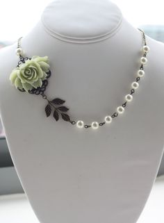 A Large Dark Red Rose Flower, Owl, Brass Leaf, Aventurine Gemstone Beads, Vintage Style Necklace.