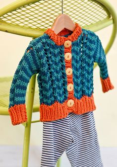 Free Knitting Pattern - Baby Sweaters: Parker - Striped Baby Cardigan