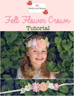 felt crown Sew this felt flower crown or hair wreath using wool felt, some pretty embellishments, and a bit of ribbon. Perfect for festivals, summer, and fun! Felt Headband, Crown Headband, Baby Headbands, Felt Flowers, Diy Flowers, Fabric Flowers, Felt Diy, Felt Crafts, Flower Crown Tutorial
