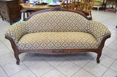 "Sensational Antique Settee - Warm Toned Floral Pattern - Cornice Lifts for Easy Transport - 63"" W x 24"" D x 32"" H"