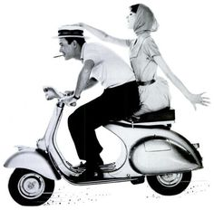 Couple on a scooter for a Cigarillo advertisement, 1959.