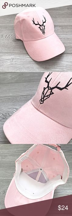 Faux Suede Cap - PINK Powder pink faux suede animal skull ball cap for women. Super cute and I wear mine all the time!! Yours will be never worn NWT. Adjustable metal clasp. 100% cotton.    New boutique item. Firm unless bundled. Accessories Hats