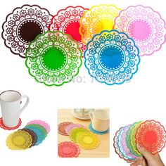 FD870 Silicone Coaster Pad Tea Cup Bowl Lace Tableware Tableware Placemat ~1PC~