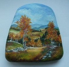 Beautiful landscape painted on rock ~ painted rocks ~ http://obrazky-hf.webgarden.cz/image/7032340