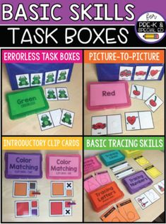 Task boxes for pre-k