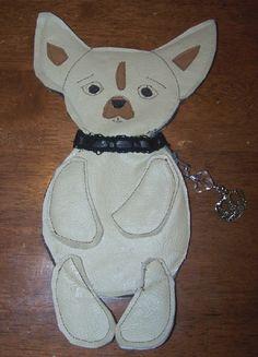Folk Art Chihuahua Dog Coin Purse Bag Crown by DollThreadsandClay