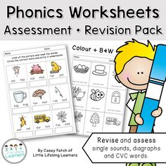 These activity sheets are perfect for revising single sounds, digraphs and decoding CVC words. Each activity sheet is provided both in colour and B+W which makes each activity perfect for either whole class revision or laminated for small group intervention.  There are 9 different worksheets in this packet (in both B+W and colour) and three different activities. | Little Lifelong Learners