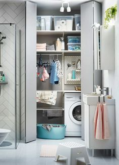 IKEA ALGOT upright shelves and LILLÅNGEN washbasin in a small laundry room within a small bathroom. Ikea Algot, Small Laundry, Laundry In Bathroom, Laundry Area, Ikea Laundry Room, Laundry Storage, Laundry Basket, Bad Inspiration, Bathroom Inspiration