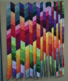 Billedresultat for Jelly Roll Bargello Rainbow Quilt Pattern See the source image Strip Quilt Patterns, Bargello Quilt Patterns, Bargello Quilts, Jelly Roll Quilt Patterns, Batik Quilts, Jellyroll Quilts, Strip Quilts, Scrappy Quilts, Easy Quilts