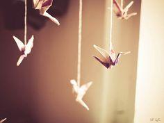 origami crane mobile decor - unique white hand painted birds - home decor