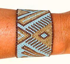Bracelet Ketiko manchette asymétrique turquoise : Bracelet par ketiko