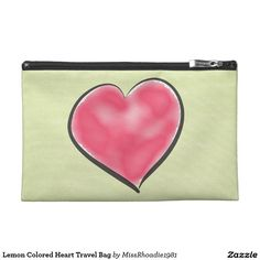 Lemon Colored Heart Travel Bag  MissRhoadie1981 is the premier place for unique custom products. Add style to your wardrobe with this stunning travel bag. Fully Customizable, this beautiful travel bag features a stunning lemon color and a heart graphic. Perfect for makeup, cell-phones, and other items. This product is proudly made in the USA! Purchase your bag today! #travelbags #zazzle