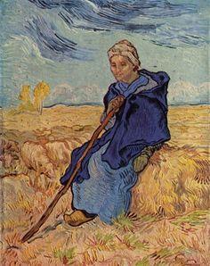 양치는 여인, 빈센트 반 고흐(Vincent Van Gogh),1889년, 캔버스에 유채, 41.5 x 53 cm  ------  Woman의 세번째 작품인 '양치는 여인'은 농민여성의 모습을 보여주고 있습니다. 그동안 고흐는 불안감, 혼돈속에서 명작을 그려내는 사이코적인 화가라고만 생각해 왔습니다. 하지만 이 그림에서 고흐에 대한 새로운 인상을 받게 되었습니다. 그림에서, 양떼와 풀밭의 색이 비슷한 색으로 이루어져 동화되고 있고, 여인의 옷과 하늘의 색이 자연스럽게 어울리고 있습니다. 여인의 시선이 양들을 향해 있지 않고 깊은 생각에 잠긴듯 허공에 가볍게 올려져 있습니다. 그런 부드러운 시선처리를 통해 전체적인 그림도 편안하고 안정된 느낌을 줍니다.