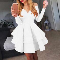 Shyfull Sweet Ruffle Design Knee Length A Line Dress Women's A Line Dresses, Necklines For Dresses, Types Of Dresses, Knee Length Dresses, Short Dresses, Cheap Cocktail Dresses, Cocktail Dresses Online, Cheap Party Dresses, Party Dresses Online