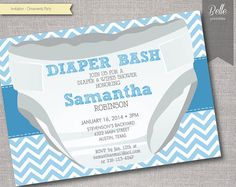 Diaper Baby Shower Invitation Diaper and Wipe Gender neutral