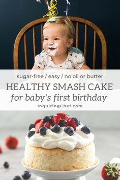A light and fluffy healthy smash cake with no butter, no oil, and no sugar for baby's first birthday. Most importantly, this cake is easy to make - with only five ingredients! birthday smash cake Healthy Smash Cake for Baby's First Birthday Smash Cake Recipes, Baby Food Recipes, Dessert Recipes, Healthy Cake Recipes, Family Recipes, Cooking Recipes, Mini Desserts, Brownie Desserts, Oreo Dessert