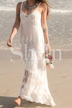 White Spaghetti Strap Lace Maxi Dress-SheIn