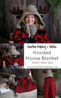 Crochet Hooded Moose Blanket - MJ's off the Hook Designs - Crafts Crochet Fox, Manta Crochet, Crochet Gifts, Free Crochet, Crochet Cactus, Crochet Elephant, Unique Crochet, Crochet Hook Sizes Chart, Crochet Hooks