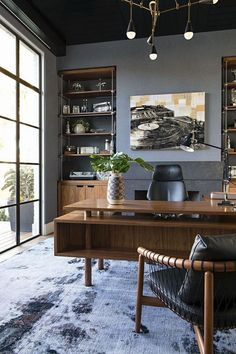 4 Principles for Creating the Perfect Home Office - Jessica Elizabeth - Room Design Men's Home Offices, Masculine Home Offices, Vintage Home Offices, Vintage Office Decor, Masculine Office, Office Space Design, Home Office Space, Office Interior Design, Office Interiors