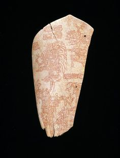 Incised bone depicting an accession ceremony. Date: A.D. 600-900. Maya culture