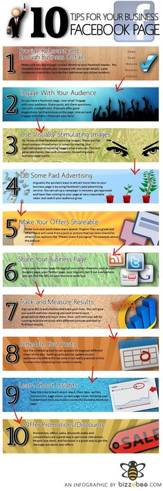 Ten Tips for your Business Facebook Page #Infographics