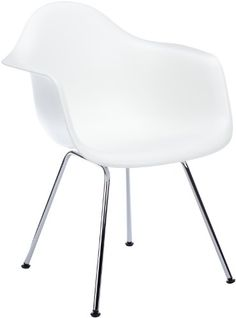 Vitra 4401100001 Stuhl DAX Eames Plastic Armchair Gestell verchromt, weiß
