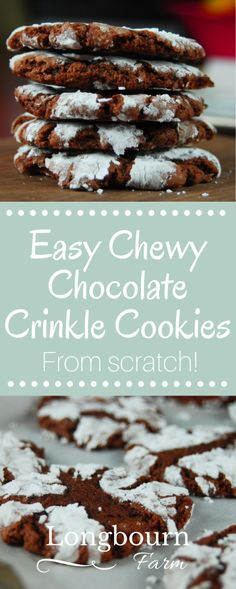 Deliciously easy chewy chocolate crinkle cookies from scratch are full of chocolate flavor, have a great chewy texture, and are perfect for holiday baking!