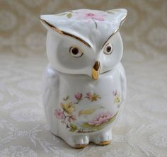 Owl Trinket Pot, Trinket Box, Vintage Bone China, Casuarina Heron, Heron And Water Lily, Owl Gifts, Owl Figurine, Gift For Her, Bird Lover by RetroEtCetero on Etsy https://www.etsy.com/listing/554652150/owl-trinket-pot-trinket-box-vintage-bone
