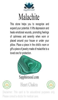 °Malachite an excellent protection stone especially for children!