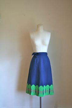 vintage 70s wrap skirt ASPARAGUS applique skirt / S by MsTips, $42.00