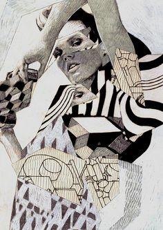 Anna Higgie. ilustración de moda, combinando fotografía con uso de vectores.