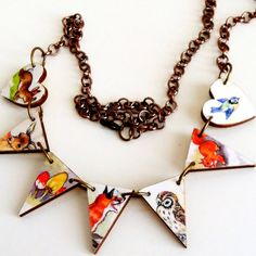 Woodland animals one of a kind wooden bunting necklace owl derr rabbit squirrel