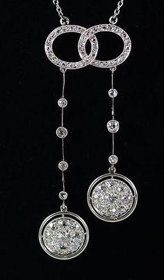 French Platinum and Diamond Negligee Necklace, circa 1900-1920