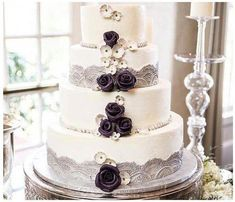 Beautiful Cake Pictures: Pretty Grey Lace & Mauve Flowers Wedding Cake: Cakes with Flowers, Wedding Cakes White Wedding Cakes, Elegant Wedding Cakes, Wedding Cakes With Flowers, Cool Wedding Cakes, Beautiful Wedding Cakes, Wedding Cake Designs, Beautiful Cakes, Lace Wedding, Wedding Ideas