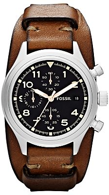 Fossil JR1430 Unisex Compass Chronograph Leather Cuff Watch, Brown