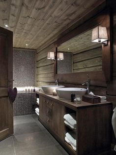 Wooden House with Natural Touch - Rumahlove Home Design Wooden Cabins, Wooden House, Wooden Cottage, Man Cave Bathroom, Wood Bathroom, Modern Bathroom, Masculine Bathroom, Basement Bathroom, Shared Bathroom