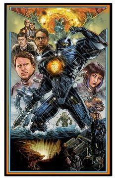 Illustrated Pacific Rim Poster by Benjamin Dewey-movie from 2013 King Kong, Pacific Rim Movie, Pacific Rim Jaeger, Gipsy Danger, Lion Wallpaper, Mileena, Transformers, Marvel, Alternative Movie Posters