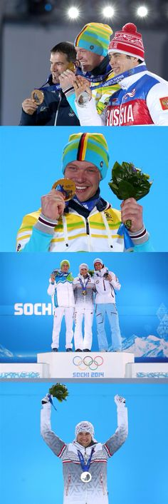 Sochi 2014 Day 4 / Medal Ceremony / (L-R) Bronze medalist Armin Zoeggeler of Italy, gold medalist Felix Loch of Germany and Silver medalist Albert Demchenko Men's Luge Singles , (L-R) Silver medalist Peter Prevc of Slovenia, gold medalist Kamil Stoch of Poland and bronze medalist Anders Bardal of Norway celebrate during the medal ceremony for the Men's Ski Jump Normal Hill Individual Final